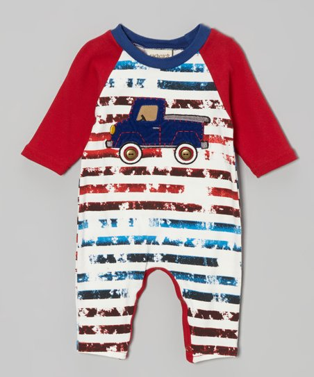 Red Stripe Truck Playsuit - Infant