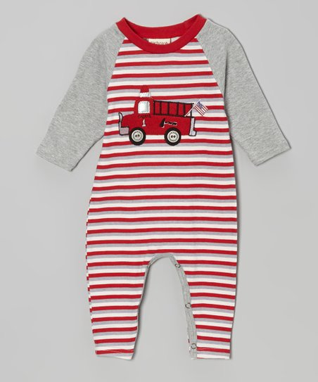 Red & Gray Stripe Fire Truck Playsuit - Infant
