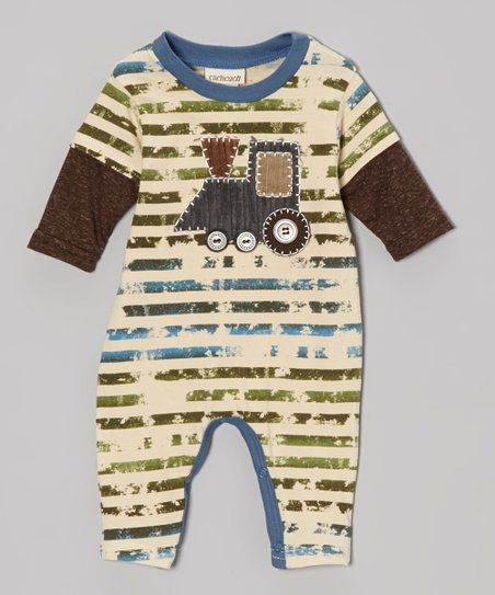 Brown Stripe Train Engine Playsuit - Infant