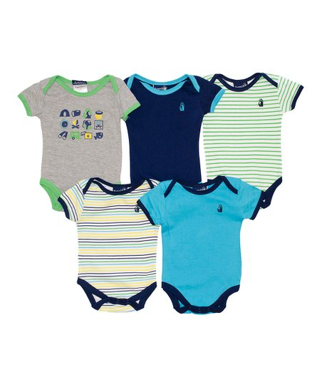 Blue & Green Camp Bodysuit Set - Infant