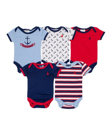 Blue & Red Sailing Bodysuit Set