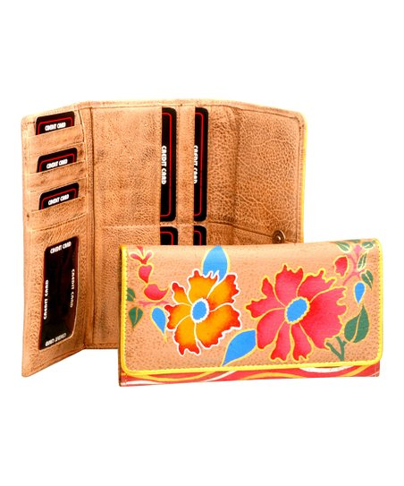Red & Blue Floral Hand Painted Leather Wallet