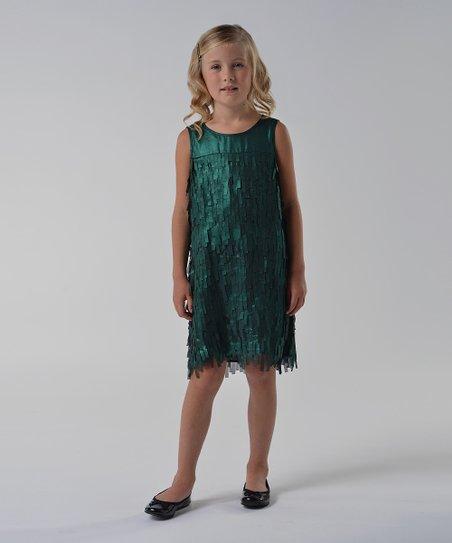 Green Fringe Shift Dress - Girls