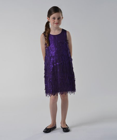 Plum Fringe Shift Dress - Girls