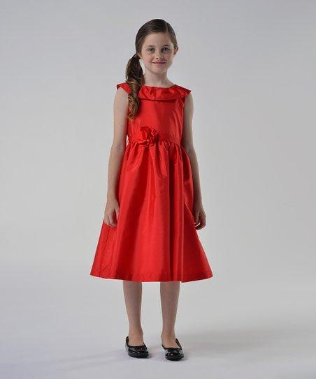 Red Rosette Yoke Dress - Infant, Toddler & Girls