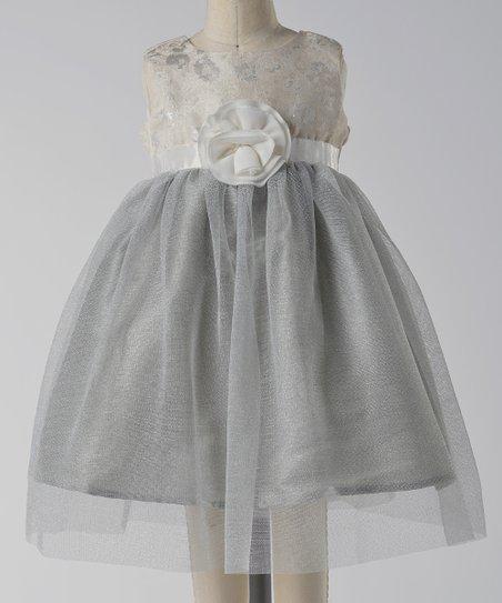 Silver Rosette Tulle Babydoll Dress - Infant & Toddler
