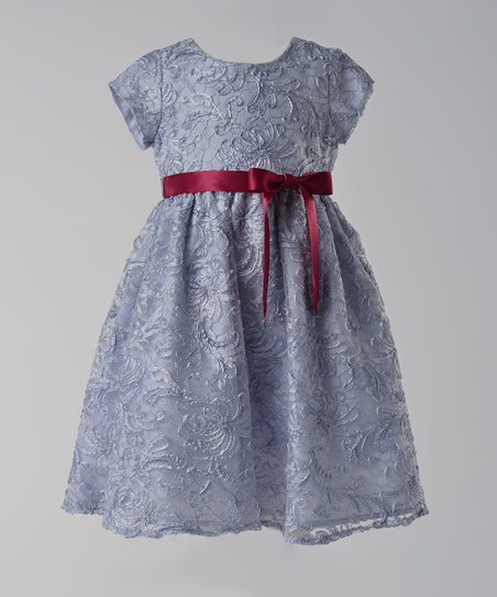 Silver Lace Cap-Sleeve A-Line Dress - Infant & Toddler