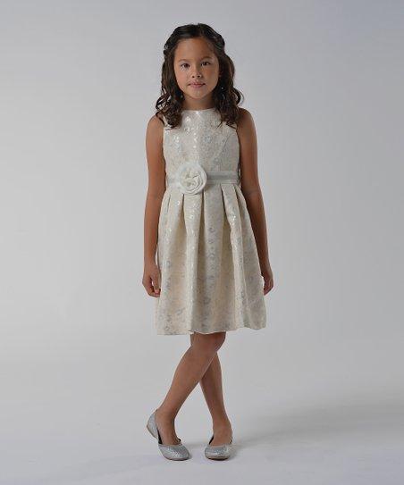 Silver Rosette A-Line Dress - Girls