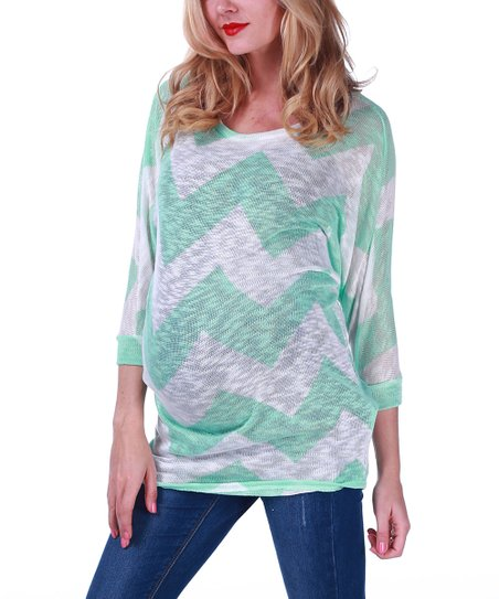 Mint Green & White Zigzag Knit Maternity Dolman Top - Women