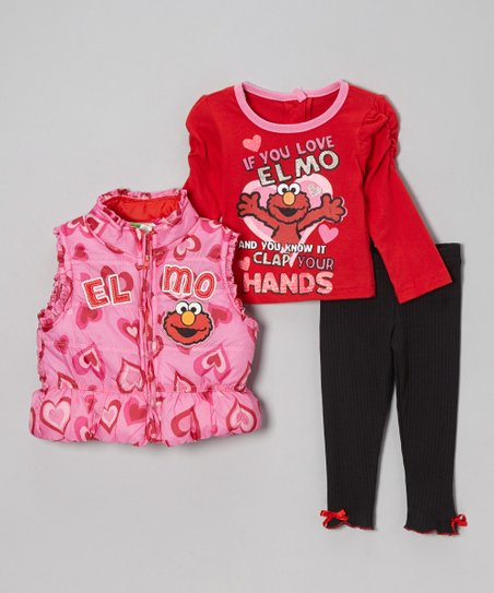 Pink 'If You Love Elmo' Hearts & Bows Pants Set - Infant