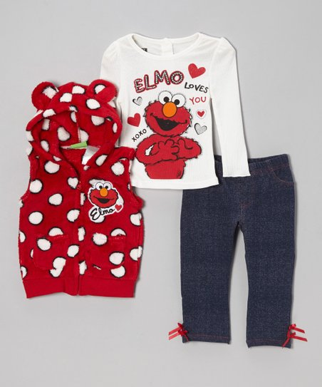 Red 'Elmo' Polka Dot Pants Set - Infant