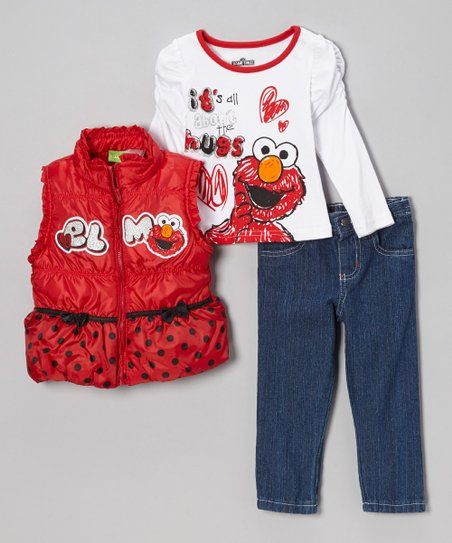 Red 'Elmo' Polka Dot & Bows Pants Set - Infant & Toddler