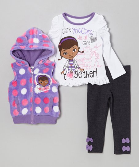 Purple Polka Dot Doc McStuffins Leggings Set - Toddler