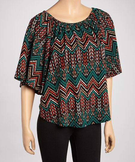 Teal Tribal Pointillism Cape-Sleeve Top - Women