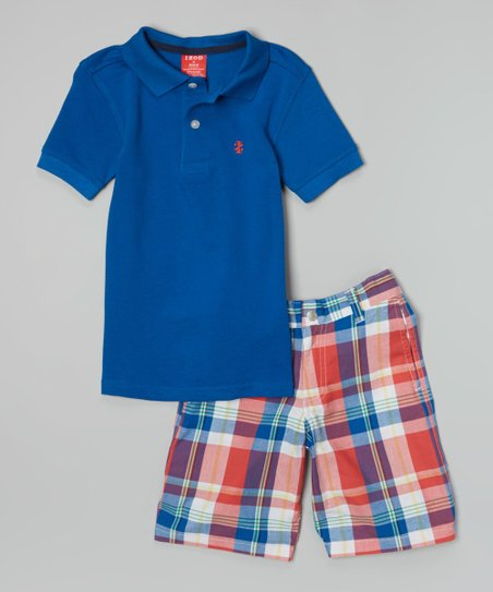 Snorkel Blue Polo & Red Plaid Shorts - Toddler & Boys
