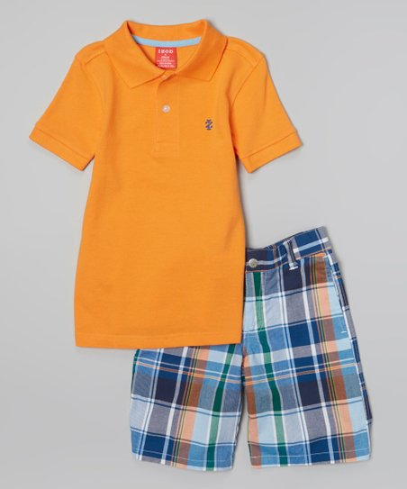 Orange Polo & Blue Plaid Shorts - Toddler & Boys