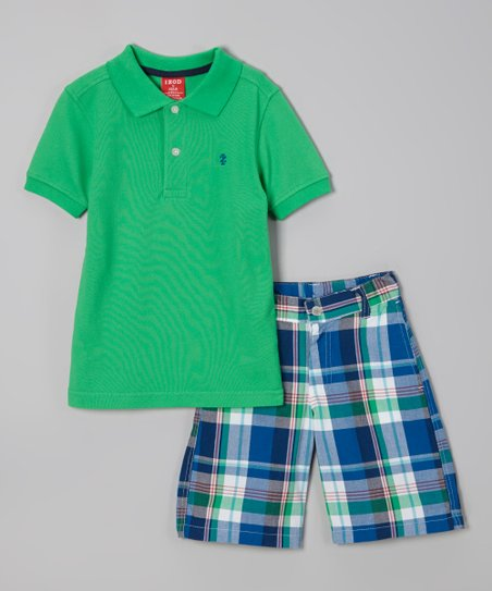 Green Polo & Blue Plaid Shorts - Boys