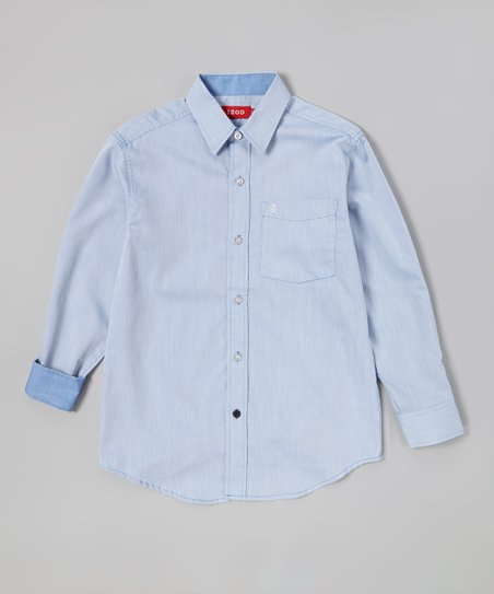 Medium Blue Solid Twill Button-Up - Toddler & Boys