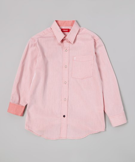 Red Solid Twill Button-Up - Boys