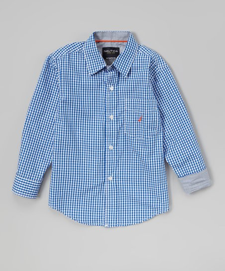 Blue Gingham Button-Up - Infant, Toddler & Boys