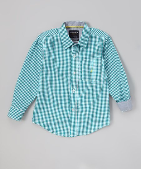 Sea Blue Gingham Button-Up - Toddler & Boys