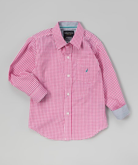 Dark Pink Gingham Button-Up - Infant, Toddler & Boys