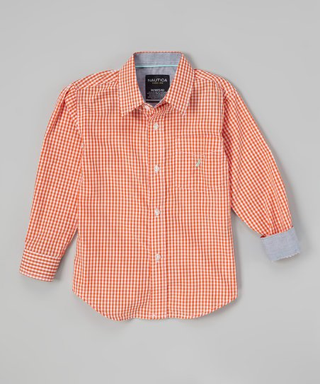 Orange Gingham Button-Up - Toddler & Boys