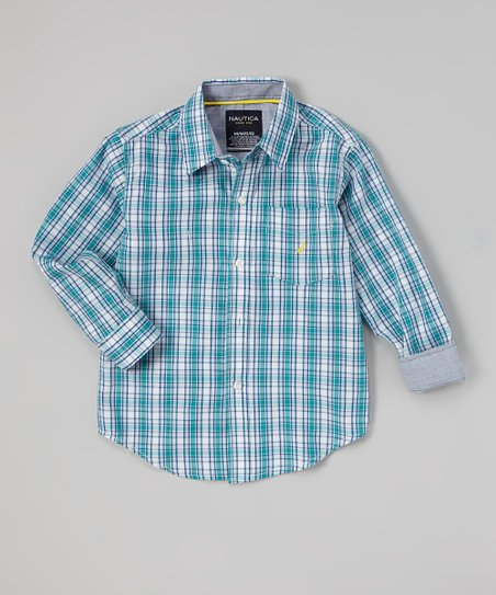 Sea Blue Plaid Button-Up - Toddler