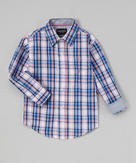 Hibiscus & Blue Plaid Button-Up – Infant, Toddler & Boys