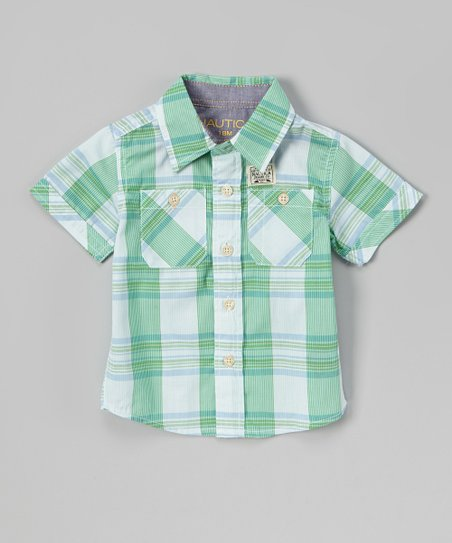 Green Plaid Button-Up - Infant