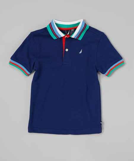 Tanzanite Stripe Trim Polo - Infant & Toddler