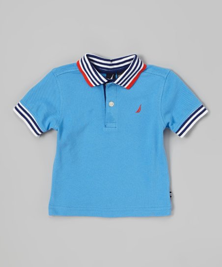Light Blue Stripe Trim Polo - Toddler