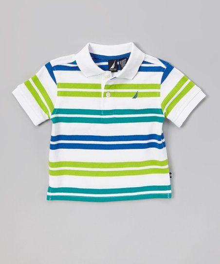 Sail White & Green Stripe Polo - Infant & Boys