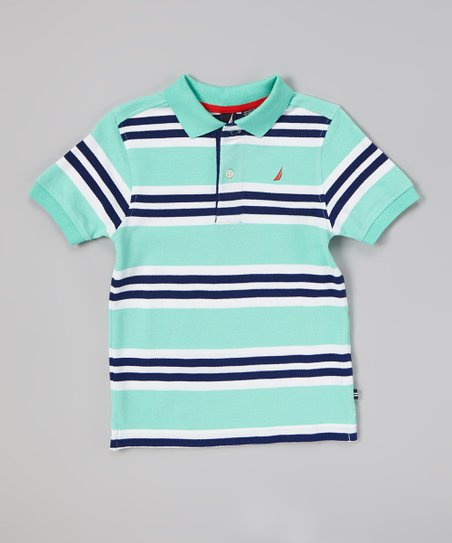Light Green & Navy Stripe Polo - Infant, Toddler & Boys