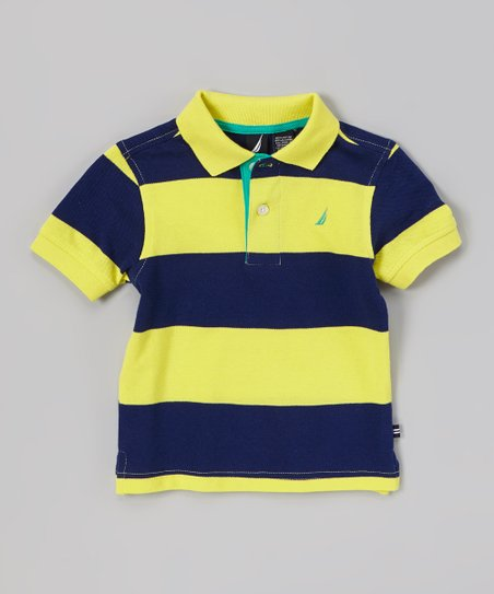 Yellow & Navy Stripe Polo - Infant, Toddler & Boys