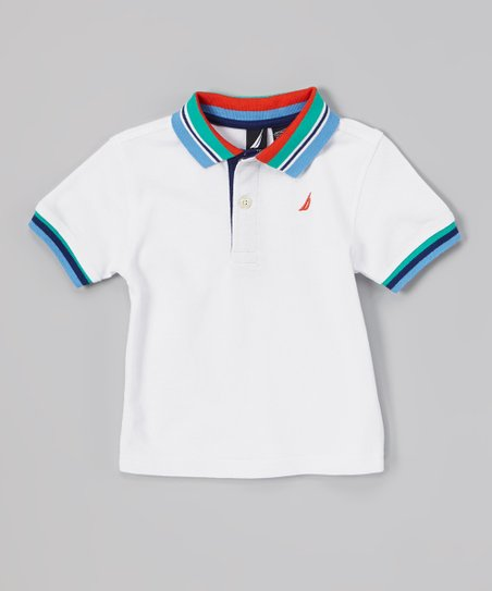 White Stripe Trim Polo - Infant, Toddler & Boys