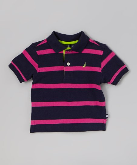 Navy & Purple Stripe Polo - Infant, Toddler & Boys