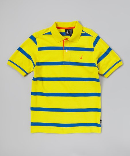 Yellow & Blue Stripe Polo - Toddler & Boys