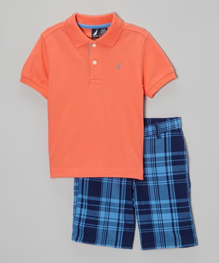 Hibiscus Polo & Blue Plaid Shorts - Toddler