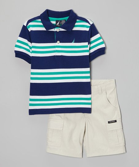 Navy & Jade Stripe Polo & Khaki Shorts - Toddler