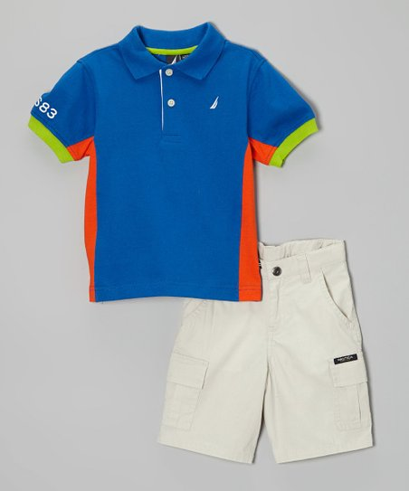 Blue Jersey Polo & Khaki Shorts - Toddler