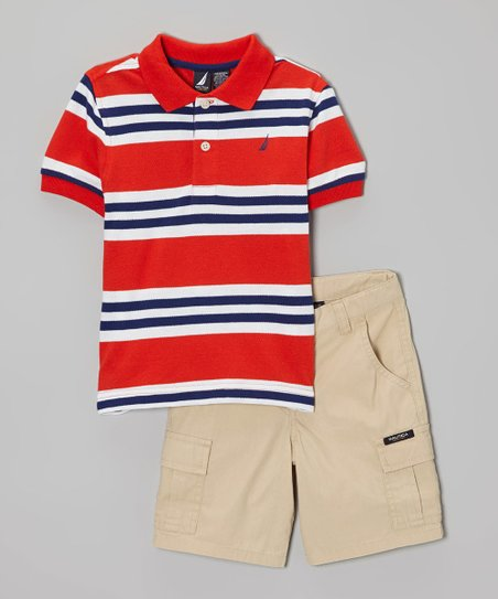 Orange & Navy Stripe Polo & Khaki Shorts - Toddler