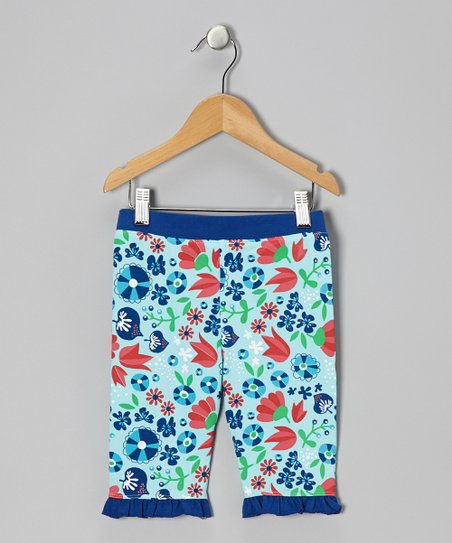 Ice Blue Tulip Ruffle Bike Shorts - Infant& Toddler