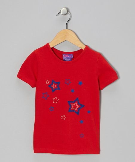 Red Embroidered Star Tee - Infant, Toddler & Girls