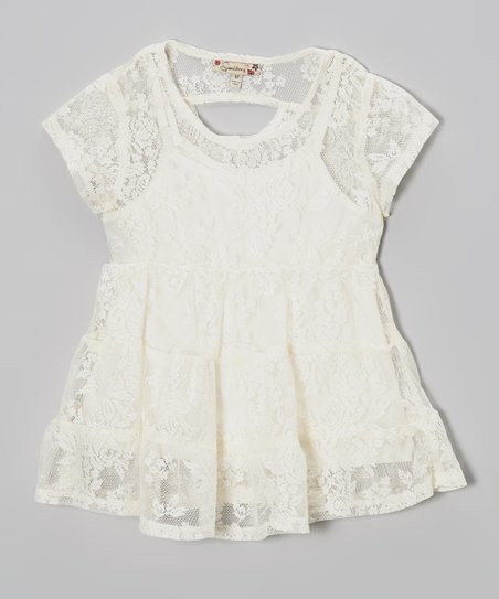 Ivory Lace Tiered Top