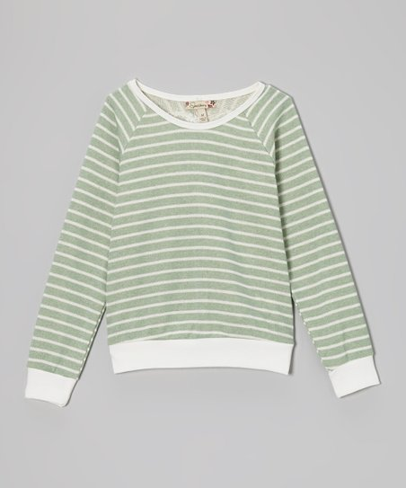 Sage Stripe Lace Heart Top - Girls