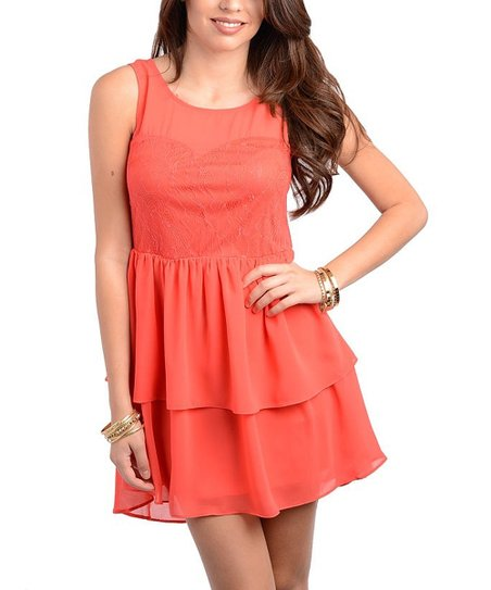 Coral Tiered Ruffle A-Line Dress