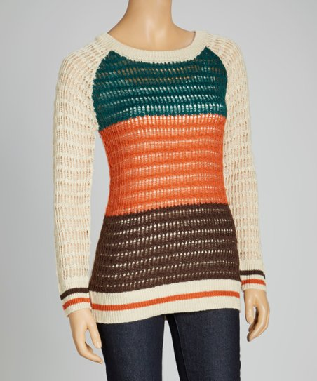 Oatmeal & Teal Raglan Sweater