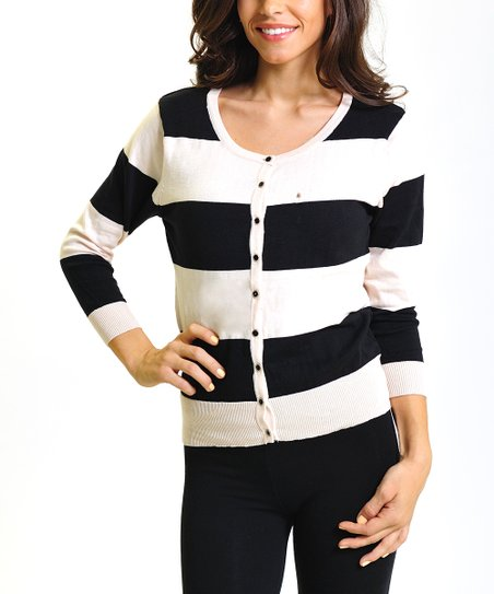 Black & White Stripe Three-Quarter Sleeve Cardigan