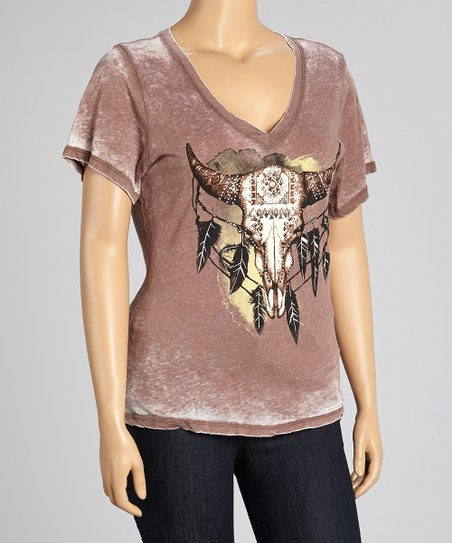 Mocha Western Bullhead Burnout Top - Plus
